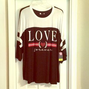 NWT Xersion 2X Love Tunic length 3/4 sleeve jersey